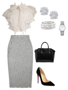 """""""Pencil Skirt"""" by lecoiffeur on Polyvore featuring Altuzarra, Christian Louboutin, Givenchy, Effy Jewelry, Sole Society, Longines and lecoiffeur"""