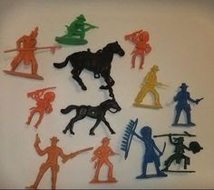 VTG Cowboy And Indian Plastic Figures Mixed Lot Junk Drawer Horses