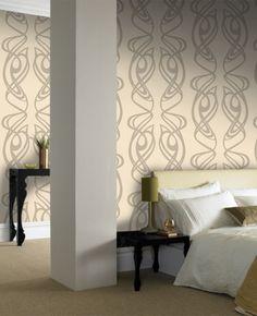 Barbara Hulanicki - Diva Beige Wallpaper - Art Neuveau Wallpaper $85.00