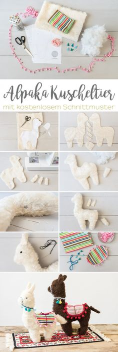 DIY gifts: Alpaca cuddly toy sewing - Leelah Loves- DIY – Geschenke: Alpaka Kuscheltier nähen – Leelah Loves Instructions for a DIY alpaca cuddly toy sewn as a gift for children or your best friend for Christmas - Sewing Patterns Free, Free Sewing, Knitting Patterns, Felt Patterns, Knitting Ideas, Baby Knitting, Sewing Toys, Sewing Crafts, Craft Ideas