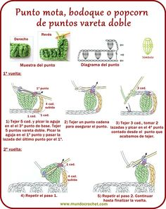 mota, bodoque o popcorn de puntos vareta doble Crochet Stitches Chart, Crochet Stitches For Beginners, Crochet Motifs, Crochet Borders, Crochet Diagram, Crochet Basics, Crochet Patterns, Crochet Cord, Quick Crochet