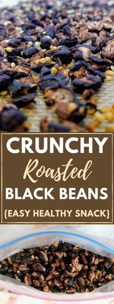 Crunchy roasted black beans, an AWESOME sugar-free, gluten-free snack that's better than potato chips! They're so easy to make and your whole family will love them. Great for vegans and vegetarians!