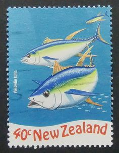 Yellowfin tuna fish Handmade Postage Postage Stamp Art 6575