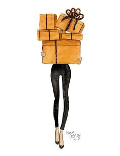 Hermes Shopping by KaraAshleyShreeve on Etsy christmasillustration Illustration Noel, Christmas Illustration, Christmas Drawing, Christmas Art, Christmas Clipart, Xmas, Little Paris, Fashion Wall Art, Watercolor Cards