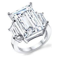 Kim Kardashian Sterling Silver Engagement Wedding Ring with Large Carat Emerald Cut Cubic Zirconia CZ - Walmart.com