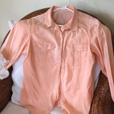 Plus size cotton shirt Peach-colored, light, L/S, worn once Maurices Tops