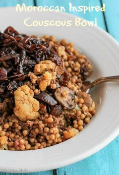 Moroccan Inspired Couscous Bowl: ground beef, cauliflower, mushrooms and dried fruit on Israeli Couscous , topped with Caramelized Onions. Fast and delicious!