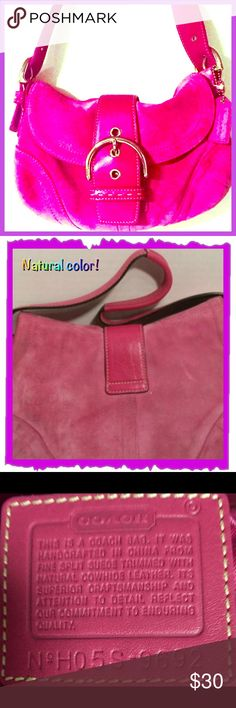 Coach pink suede vintage purse this coach bag is preloved, the last photo shows a picture of the back left corner of bag,( I got a closeup of it) I want happy buyers! This bag is suede. Height:5.0 bag depth:2.5 bag length:9.5 strap: 8.0 closure:buckle flap. this bag has a lot of life in it,bag is adorable! Back of bag has some slight discoloration, nothing major!questions? just ask! This purchase comes with an awesome surprise!well every purchase comes with a gift, but I promise if you…