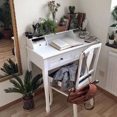 boho, books, brown, desk, green, plants, tumblr, white, study area