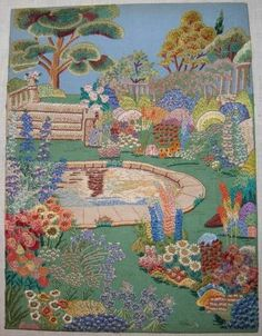 Antique English Country Cottage Garden Large Embroidery Stunning Raised Stitches | eBay