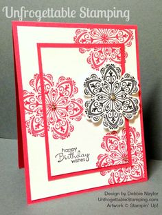 Unfrogettable Stamping | QE birthday card featuring double-time stamping technique with the retiring Mixed Bunch and Petite Pairs stamp sets and Blossom punch by Stampin' Up! for week of 04-27-2015