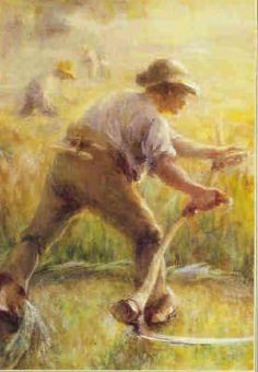 """Atcherley. Scything."" This may be Ethel Atcherley's ""Sweep of Scythe in Morning Dew"" which was shown at the Manchester Academy Exhibition in March 1903, just two and half years before the artist's untimely death."