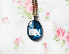 Whale Necklace, Kawaii Necklace, Whale Pendant, Antique Bronze, Kawaii Whale, Cute Necklace, Cute Cabochon, Cabochon Necklace, Kawaii Kei