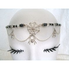 Spider Circlet, wiccan jewelry pagan jewelry wicca jewelry crown gypsy... ($34) ❤ liked on Polyvore featuring jewelry, pendants, accessories, hair accessories, lobster claw charms, gothic pendant, pearl charm, gothic jewelry and lobster clasp charms