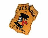 Red Nose Tavern Sign, Vintage Wooden Sign, Guy Gift Man Cave, Wall Hanging