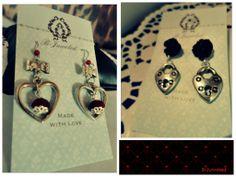 Handmade by B-Juweled  https://www.facebook.com/bjuweled.handgemaaktejuwelen  #necklace #blue #red #handmade #heart #valentine #earrings #accessories