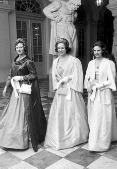 Queen Margrethe, Princess Benedikte and Queen Anne-Marie in 1963.