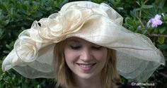 Kentucky Derby Women's Hat Wide Brim Off-The-Face Sinamay Straw with Flowers