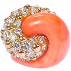 1960s French magnificent coral diamond gold swirl ring