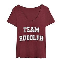 Christmas Team Rudolph Tee ($15) ❤ liked on Polyvore featuring tops, t-shirts, shirts, christmas, christmas tee, jersey t shirts, red t shirt, red shirt and v neck tee