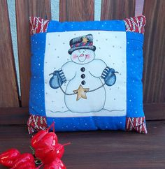Small Decorative Pillow  Snowman with Christmas