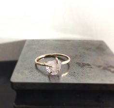 Raw Cut Quartz Solitaire Gold Ring -Engagement Ring 14K Gold Filled Ring $120