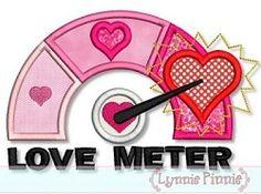 Love Meter Applique - 3 Sizes!   Valentine's Day   Machine Embroidery Designs   SWAKembroidery.com Lynnie Pinnie