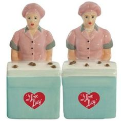 Westland Giftware I Love Lucy Magnetic Lucy and Ethel Chocolate Factory Salt and Pepper Shaker Set, 3-1/2-Inch