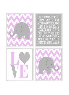 Nursery Art Elephant Chevron Baby Girl Nursery Prints, Gray Purple Lavender Wall Art  Love -  Nursery Decor Playroom Rules Quote - 4 8x10. $50.00, via Etsy.