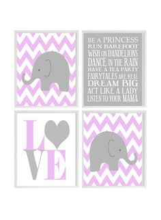 Nursery Art Elephant Chevron Baby Girl Nursery Prints, Gray Purple Lavender Wall Art  Love -  Nursery Decor Playroom Rules Quote - 4 8x10. $50.00, via Etsy.