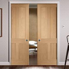 Oak Pocket Doors – Page 20 Double Pocket Door, Pocket Door Frame, Pocket Doors, Oak Doors With Glass, Solid Oak Doors, Flush Doors, Oak Panels, Beautiful Interior Design, Elegant Home Decor