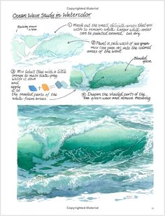 Watercolour Painting Techniques: How to paint an ocean wave guide. Watercolor Tips, Watercolour Tutorials, Watercolor Techniques, Watercolour Painting, Painting Techniques, Painting & Drawing, Watercolors, Watercolor Ocean, Painting Tutorials