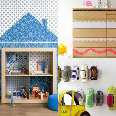 Best Ikea Hacks for Kids' Rooms - I particularly like the magnetic knife rack for storing toy cars and the bookcase turned doll house.