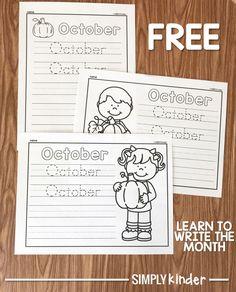 Free October Printable Learning To Write, Teaching Writing, Preschool Learning, Kindergarten Teachers, Kindergarten Activities, Teaching Calendar, Picture Writing Prompts, Literacy Centers, Elementary Art