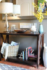 """Entryway table idea #1. What I like about this one: The """"X""""s on the side and the bottom shelf. Just like this table, I want to be able to put a basket on the bottom with either pillows or maybe a place for shoes."""