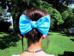 Bandana hair bow, large hair bow,hair clip, hair bow,bow,big hair bow,teens accessories,teens,womens,big bows for hair,hair accessories,Aqua on Etsy, $7.50