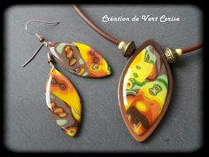 kiwano Mokume gane , green and gold clay, polymer clay necklace and earrings
