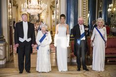 President Donald Trump, Queen Elizabeth II, First Lady Melania Trump, Prince Charles Prince of Wales and Camilla Duchess of Cornwall attend a State Banquet at Buckingham Palace on June Get premium, high resolution news photos at Getty Images Trump Melania, Donald And Melania Trump, First Lady Melania Trump, Camilla Parker Bowles, Donald Trump, My Fair Lady, Buckingham Palace, Meghan Markle, Kate Middleton