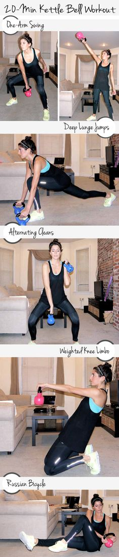 20-minute kettle bell workout (Set an interval timer for 30 rounds of 10 seconds of rest and 30 seconds of work. You'll go through the sequence 5 times.)