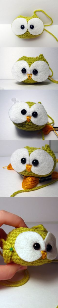 Position eyes, embroider face, (secure eyes), attach wings, and stuff
