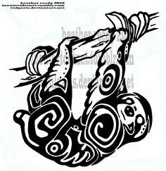 Sloth Tattoo Coloring Books Adult Sloths Tribal Art Cricut Tatting Tattoos