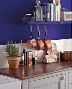 Kitchen in Napoleonic Blue from Annie Sloan Living Room Decor Pictures, Annie Sloan Wax, Napoleonic Blue, Chalk Paint, Floating Shelves, Wall, Kitchen, Painting, Home Decor