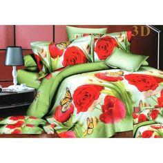 Zelené povlečení na postel z mikrovlákna s červenými růžemi - dumdekorace.cz Bedding Sets, Red Roses, Comforters, Blankets, 3d, Creature Comforts, Quilts, Bed Linens, Blanket