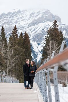 Cascade Mountain and the new Banff Pedestrian Bridge - great for a little mix of Nature & Industrial design in our little mountain town!  Banff Winter Engagement Banff Wedding Photographer | A Banff Winter Engagement Session