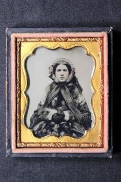 Antique 1/9 Ninth Plate Ambrotype Photo of Woman with Fur Coat, Winter Bonnet in Collectibles, Photographic Images, Vintage & Antique (Pre-1940), Ambrotypes | eBay