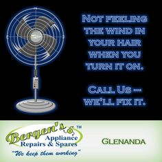 We repair Electric Fans - Bergens Appliance Repairs - We repair Electric Fans We have the parts to repair your electric fan. Fixing your current appliance reduces your carbon footprint.