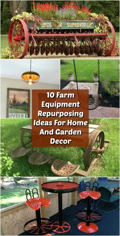 Old farm equipment can make some REALLY AWESOME DIY home decor for both indoors and outdoors! It can also give you some great curb appeal or a great looking garden! Check out these 10 Artistic Farm Equipment Repurposing Ideas For Home And Garden Decor! Rustic Gardens, Outdoor Gardens, Lawn And Garden, Home And Garden, Garden Fun, Wooden Garden Planters, Old Farm Equipment, Layout, Garden Borders