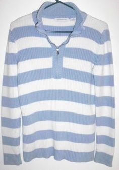 Sz M Liz Claiborne Knit Cotton Striped Pullover Sweater Blue White in Clothing, Shoes & Accessories, Women's Clothing, Sweaters | eBay