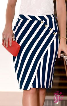 Navy blue and white skirt Skirt Outfits, Dress Skirt, Work Attire, African Fashion, Vintage Fashion, Womens Fashion, Fashion Face, Boho Fashion, Clothes For Women