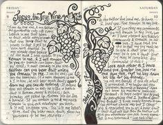 John Jesus is the true vine - art journaling Bible Study Journal, Scripture Study, Art Journal Pages, Art Journals, Scripture Journal, Journal Ideas, Journal Entries, My Bible, Bible Art